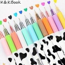 K&KBOOK 12pc Colors Kawaii Cute Milky Cow Candy Gel Pen Marker Student School Office