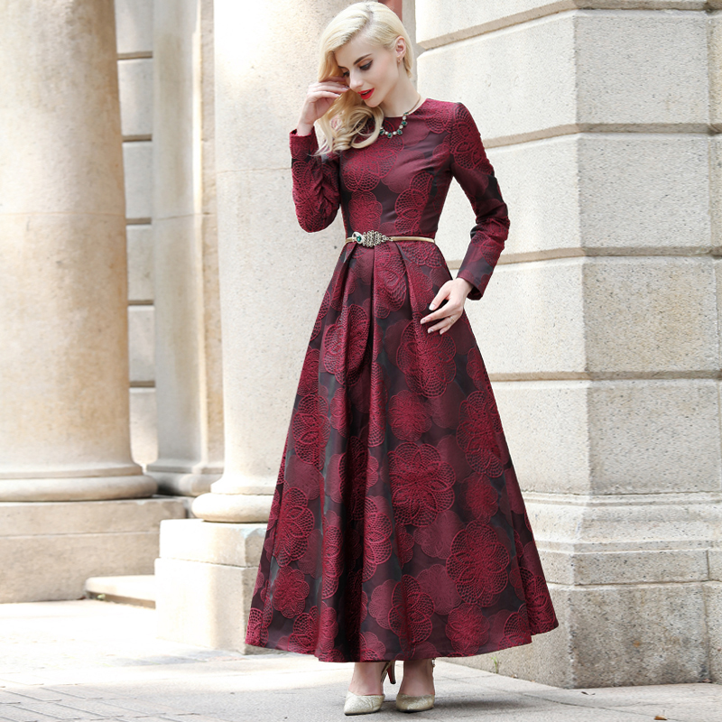 2019 High Quality Plus size Burgundy Jacquard Dress Fall Vintage Women Long Sleeve Long Maxi Autumn