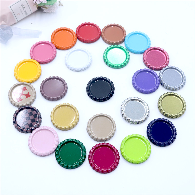 20pcs/lot 25mm Inside Colored Round Flattened Bottle Caps For DIY Hairbow Crafts Hair Bows Necklace Jewelry Accessories