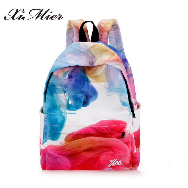Fashion cool canvas backpack for teenage girls printing multifunction women school bag travel gorgeous panelled female