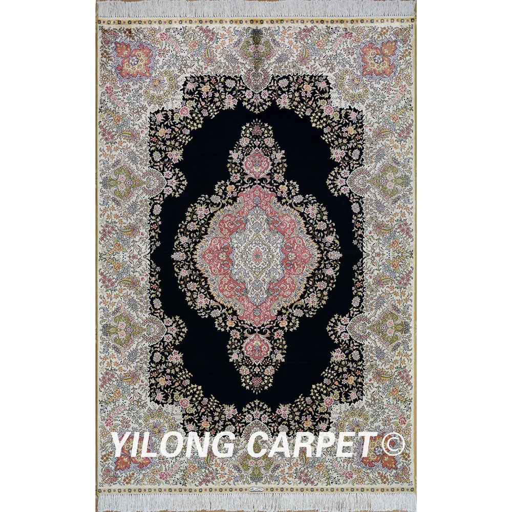 Yilong 4u0027x6u0027 Persian Silk Carpet Black Vantage Antique Chinese Rugs For Sale  (