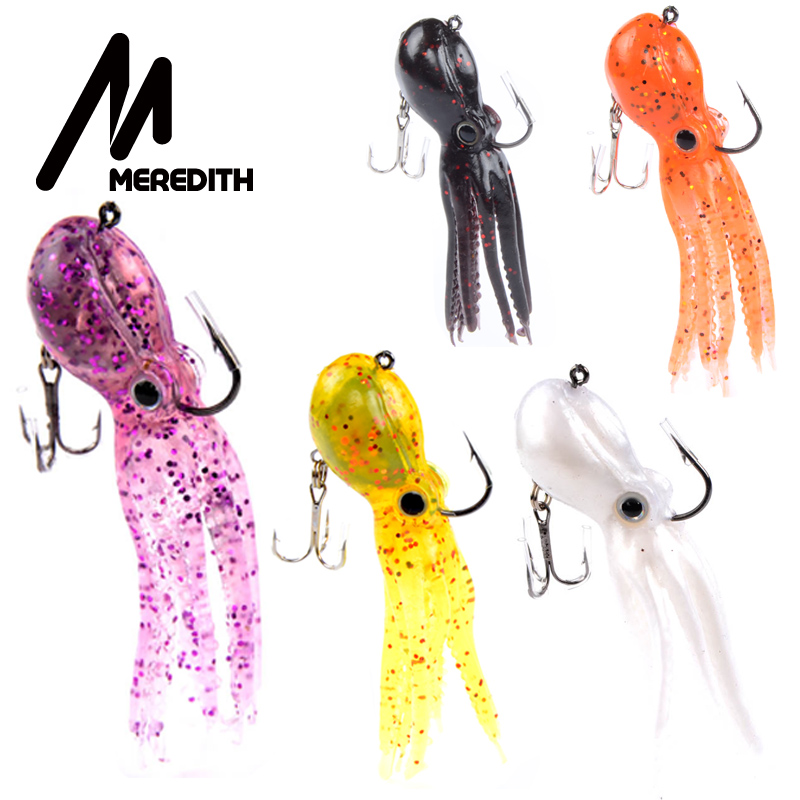 MEREDITH pêche 5pcs / lot 23g 9cm longue queue soft lead Octopus leurres de pêche