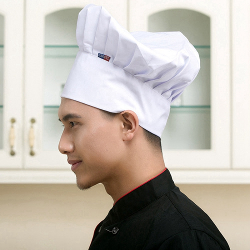 Chef Cooking Cap Cafe Restaurant BBQ Kitchen Cook Hat Women Men Working Mushroom Caps Chef Hats Cloth Plaid Solid Plain Hat