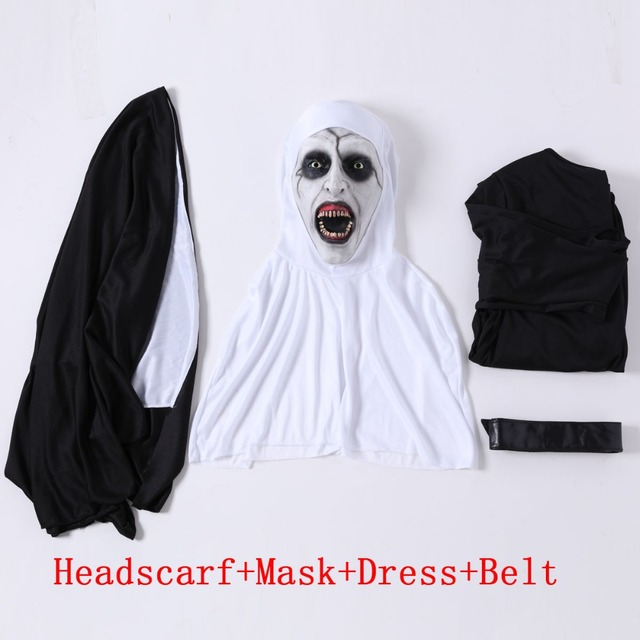 The Nun Horror Cosplay Mask With Costume Valak Virgin Latex Masks Adult Deluxe Clothing Halloween Party Costumes DropShipping 5