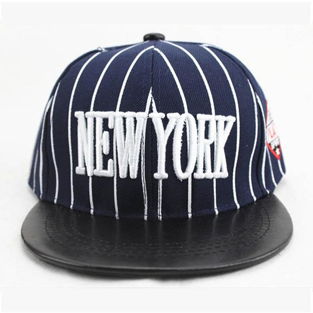 Coréen Hip Hop Chapeau Garçons Et Filles Rayures NEW YORK Lettre Brodé Casquettes de Baseball Pour Les Enfants 2019 En Plein Air Solaire Baseball chapeau