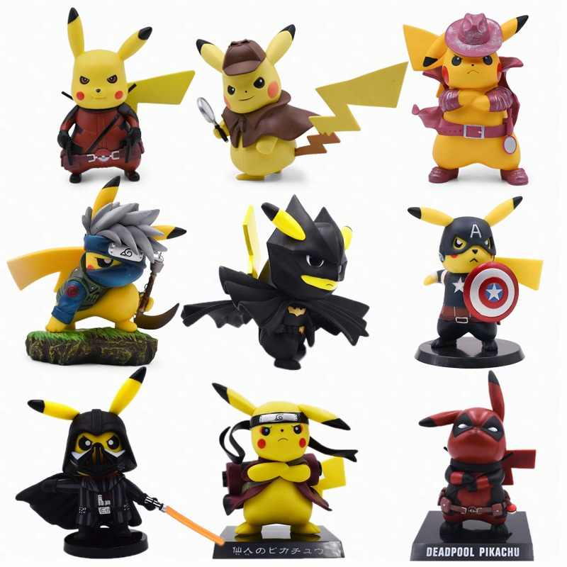 2019 Movie Detective Pikachu Cosplay Deadpool Batman Darth Vader Naruto Kakashi PVC Action Figure Doll Collection Model Toy