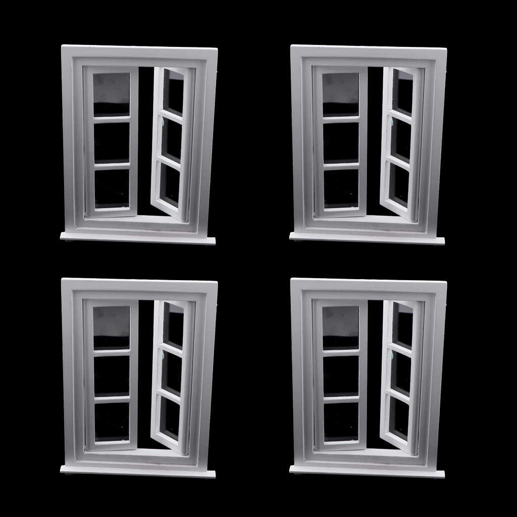 MagiDeal 4Pcs Miniature Doll House 1:12 Wooden Windows For DIY Furniture