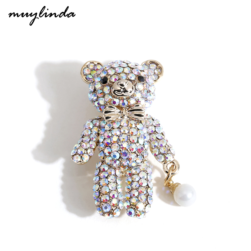 Muylinda милые булавки, коллекционная брошь, медвежонок, броши, модный шарф, брошь с кристаллами и искусственным жемчугом
