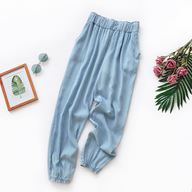 Wasteheart Summer Cotton Tencel Women Fashion Blue Long Loose Pants Harem Pants Elastic High Waist Female Pants Cowboy Jeans in Pants amp Capris from Women 39 s Clothing