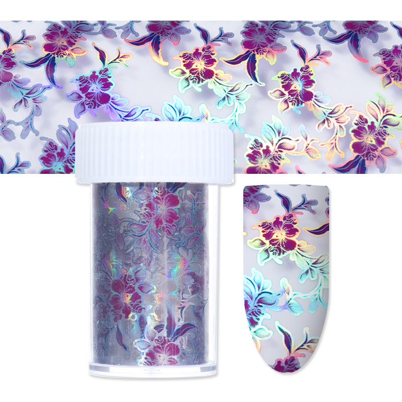 1 Roll Purple Flower Holographic Nail Sticker 4*120cm Starry Nail Foil Holo Nail Art Transfer Sticker for Nail Art Decoration 1 roll 4cm 120m gold silver holo starry sky nail foil tape nail art transfer sticker nail art decoration tools