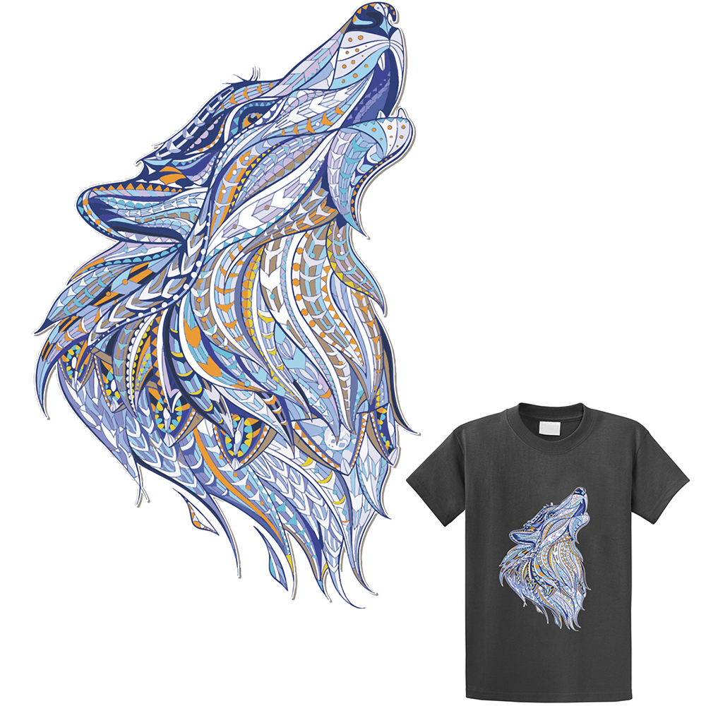 Cartoon wolf patches t shirt press heat transfer sticker a level washable iron on