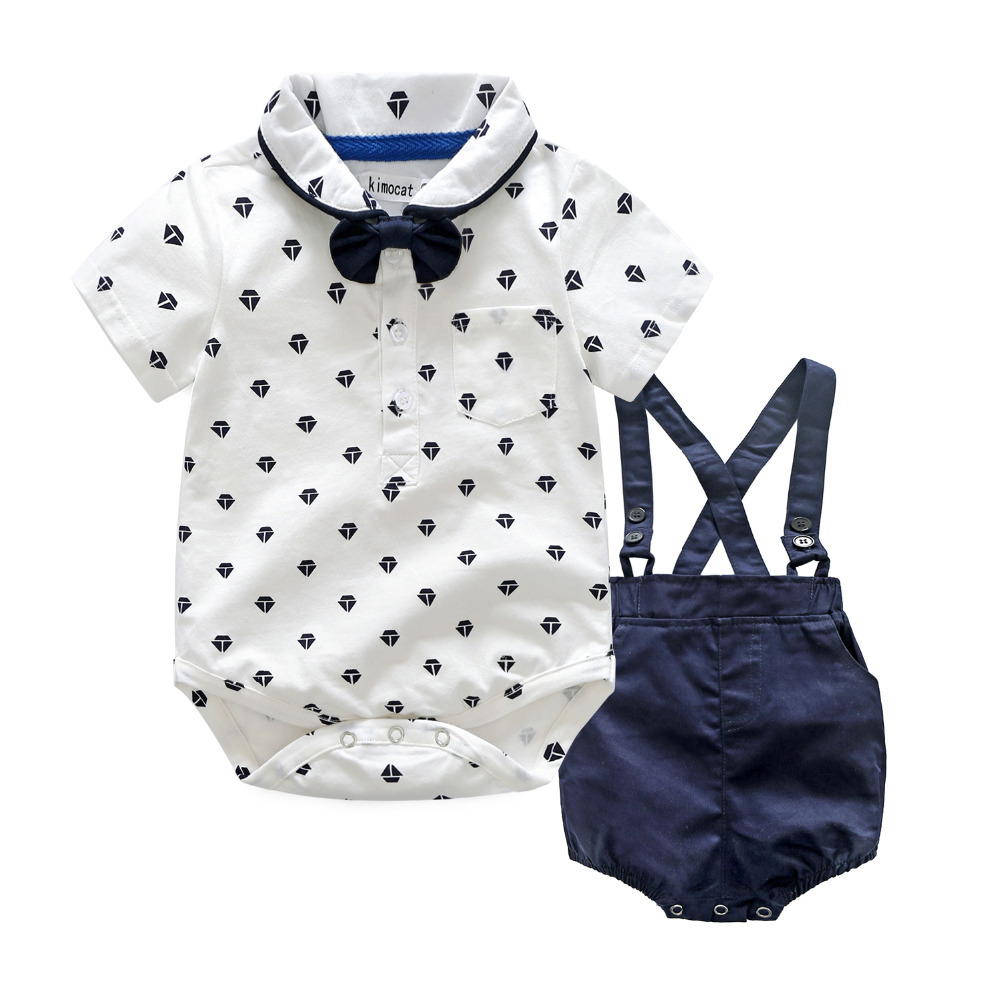New Summer Children Clothes Sets Toddler Baby Boys Girls Romper T-Shirt Tops + Suspender Shorts Preppy Style Clothing Outfits