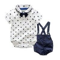 New Summer Children Clothes Sets Toddler Baby Boys Girls Romper T Shirt Tops Suspender Shorts Preppy