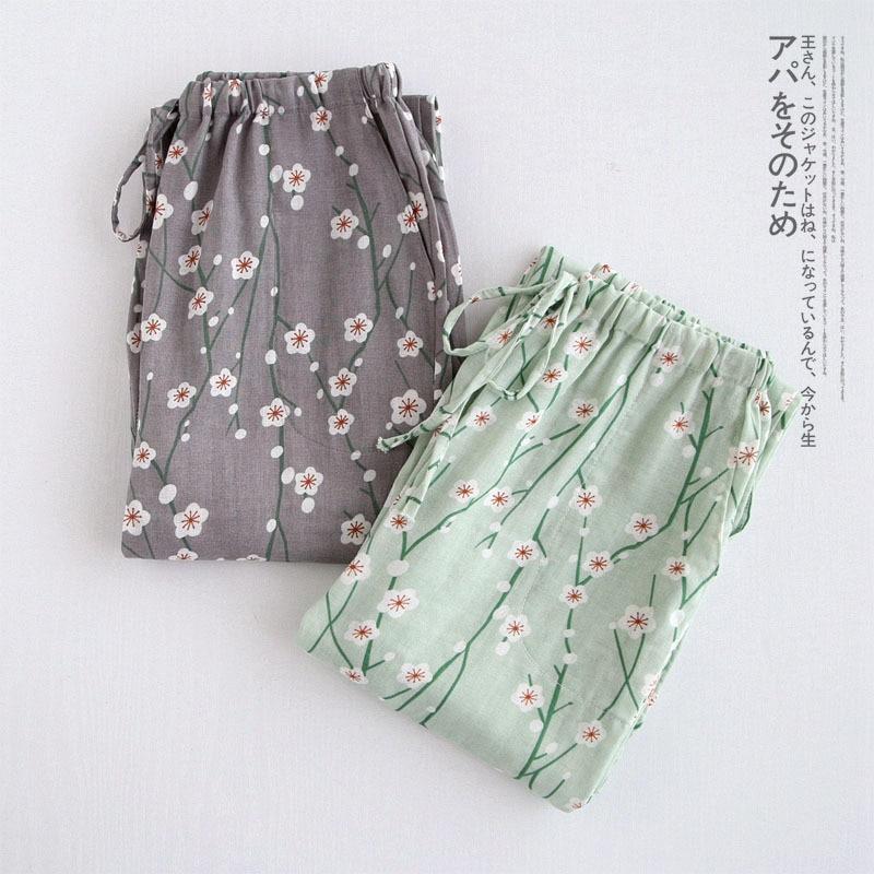 Autumn Winter Trousers For Women Floral Print Long Sleep Pants Ladies Home Pants Sleepwear Cotton Pajamas Pant Pijama Bottoms