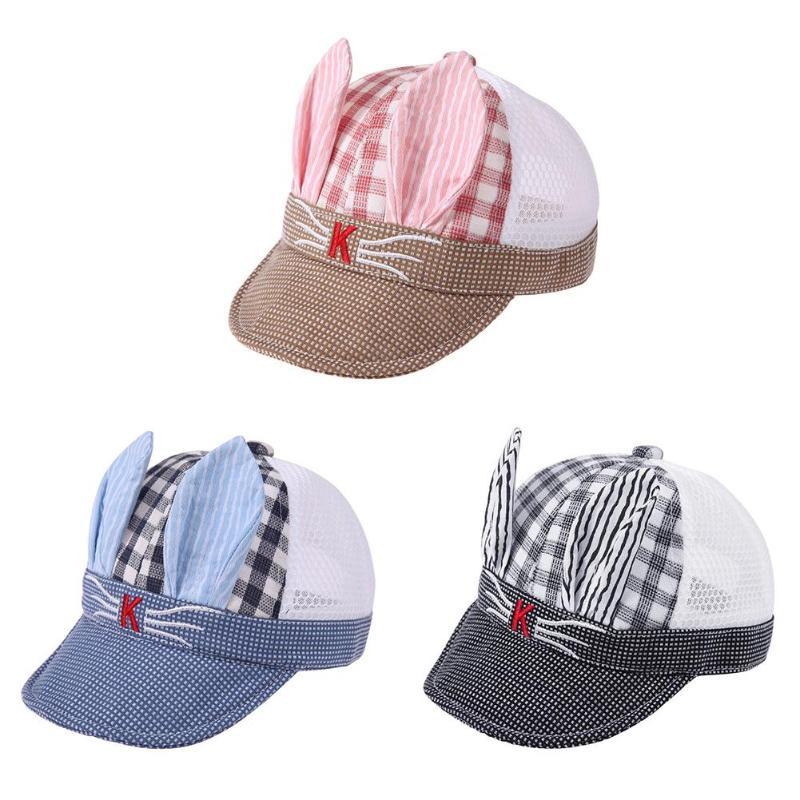 Autumn Baby Beanie For Boys Girls Long Rabbit Ears Children Dots Hats Cotton Blend Baby Baseball cap Sunhat