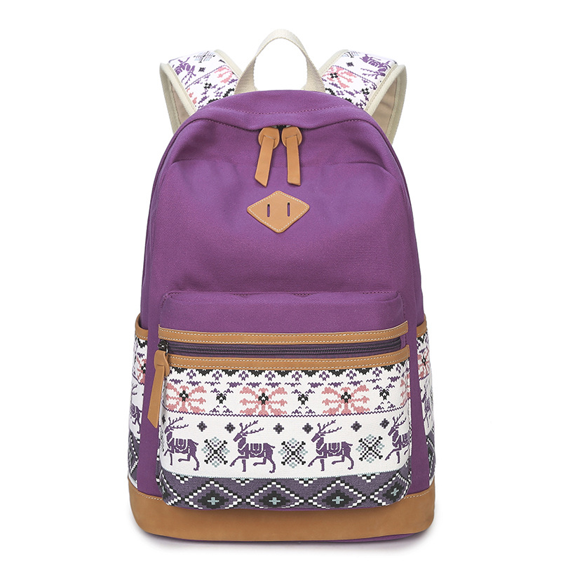 6 Colors Canvas Backpack Women Dear Printing Junior High School Backpack Bag for Teenager Girls Rucksack