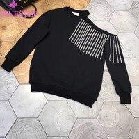 Повседневное Кофты для женщин 2019 осень зима модные пуловеры черный с длинным рукавом толстовки блузка укороченный пуловер