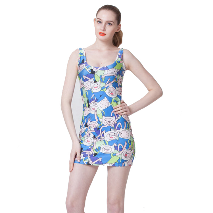 Free size B1106 Fashion Women's 3D printing cartoon game machine prints elastic summer sexy Girl sandbeach one-piece tight dress