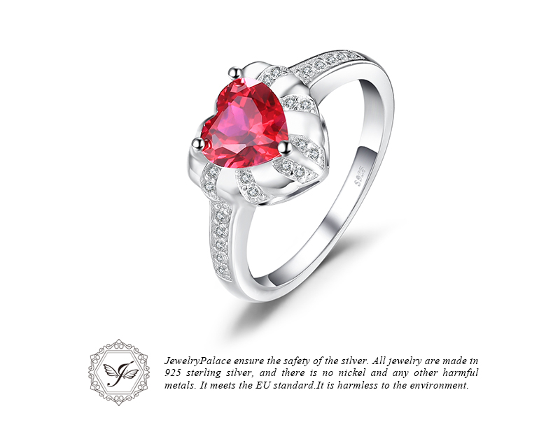 lab created ENGAGEMENT REAL RUBY HEART Ring 925 Sterling Silver