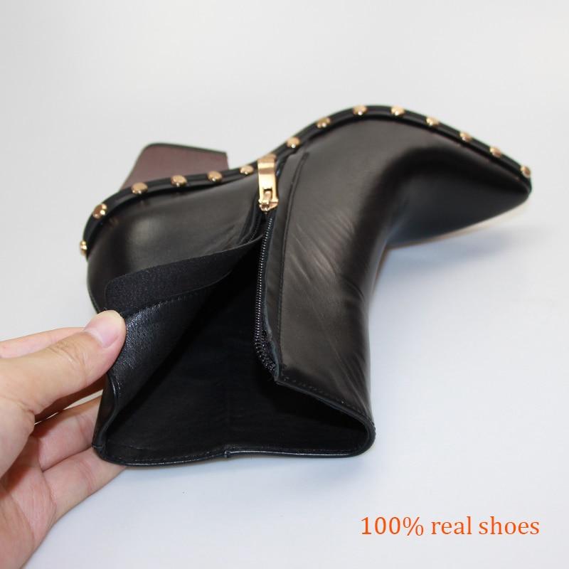 Wetkiss 브랜드 정품 가죽 리벳 부츠 여성 두꺼운 하이힐 발목 부츠 여성 지퍼 지적 발가락 숙녀 신발 여성 봄 2019-에서앵클 부츠부터 신발 의  그룹 3