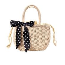Bamboo Bag Women Summer Straw Beach Silk Scarf Temperament Handbag Bohemian Travel Shopping Female Tote Vintage Bags A4