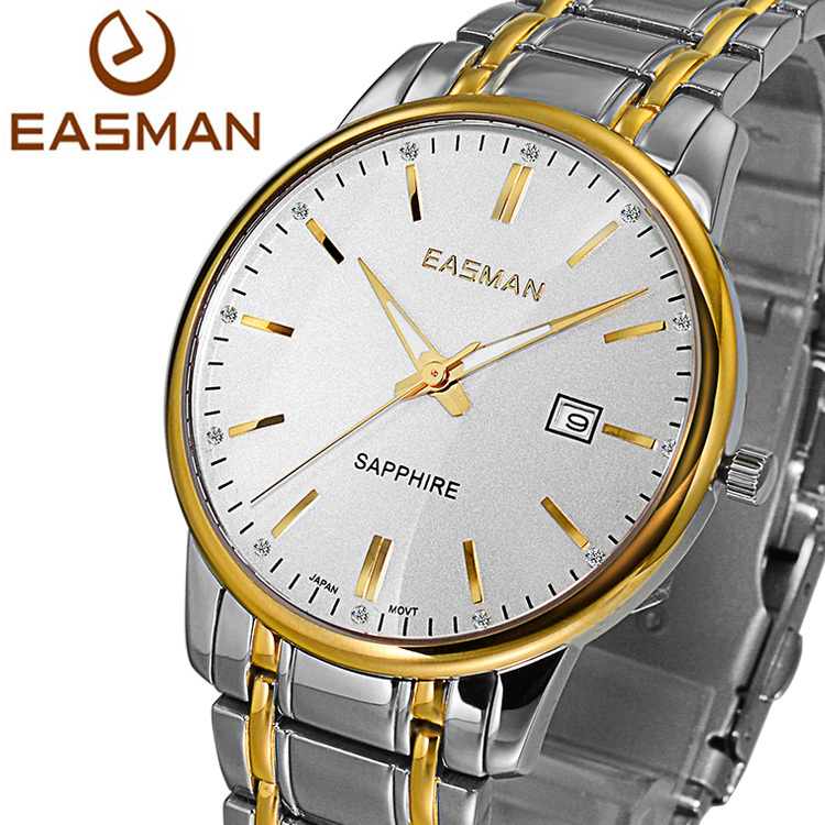 EASMAn Brand Mens Wristwatch Gold Top Designer White Classics Sapphire Luxury Solid Strap Clock Men Wristwatch