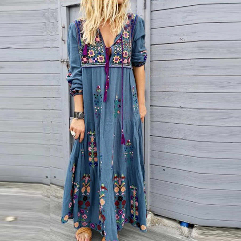 Vrouwen Plus Size V-hals Print Lace Up Lange Mouwen Boho Dress Party Maxi Jurk robe longue femme ete 2019
