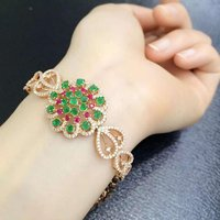 2017 Sale Qi Xuan_Fashion Jewelry_Colombia Green Stone Fashion Bracelets_Rose Gold Color Green Bracelet_Factory Directly Sales