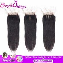 Soph queen 4*4 бразильские прямые человеческие волосы закрытие бесплатно/средний/три части 8-20 дюймов Кружева Закрытие Remy натуральный цвет ручной работы