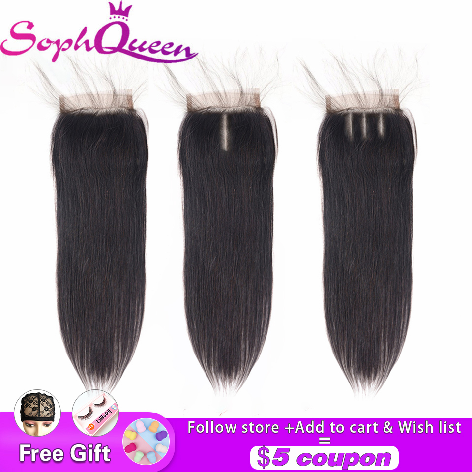 Soph Queen 4*4 Brazlian Straight Human Hair Closure Free/Middle/Three Part 8-20 Inch Lace Closure Remy Natural Color Hand Tied