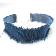 Wide Denim Choker