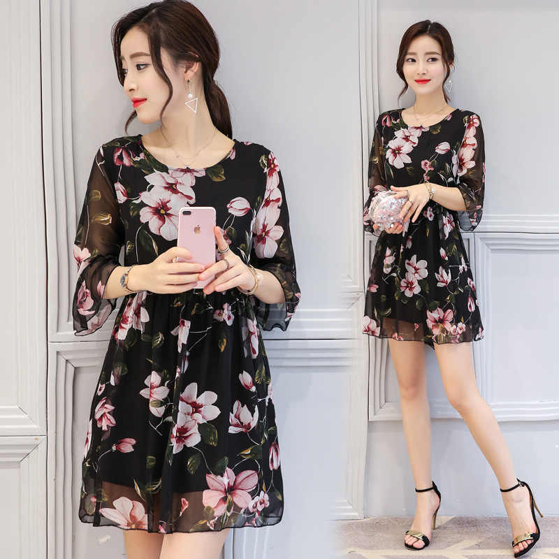 bd36ae833b964 ... 2019 корейский стиль женское модное летнее платье свободное  ТРАПЕЦИЕВИДНОЕ ПЛАТЬЕ С Рукавами в форме листа лотоса ...