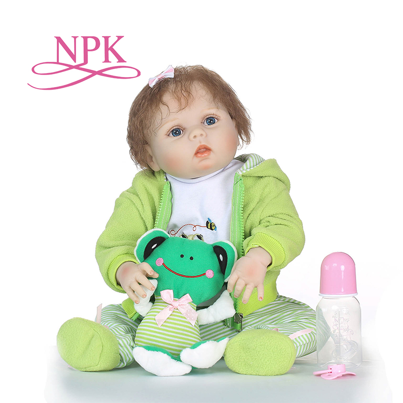 NPK 57CM full body silicone reborn babies full body soft real gentle touch bonecas reborn cut