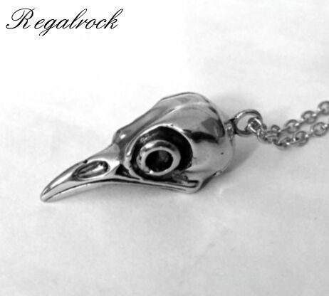 Regalrock Nordic Viking Raven Skull Pendant Necklace Crow Head