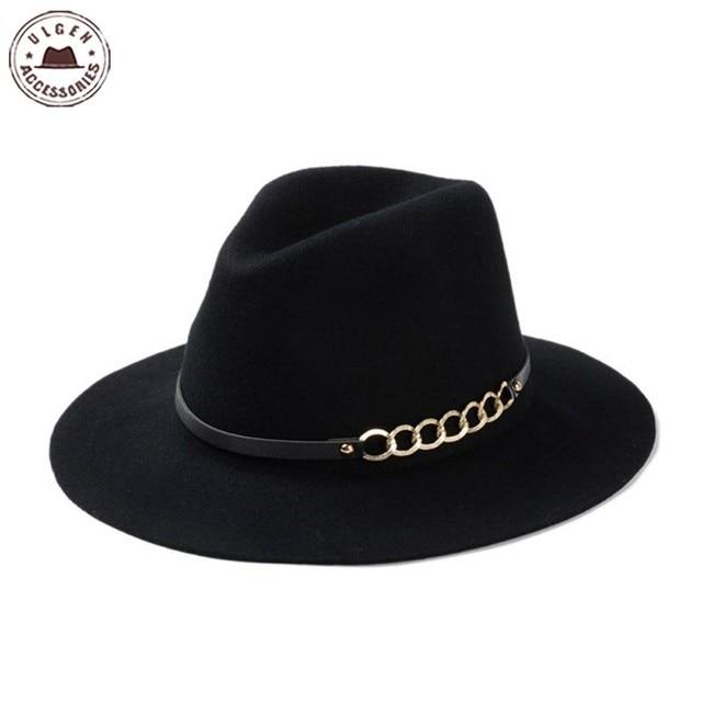 601f9673b4db4 Nueva moda negro fedora sombreros para hombres de lana pura ala grande  invierno rojo sombrero para