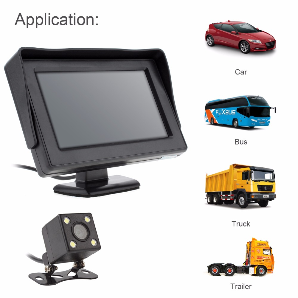 4.3 Inch HD 480 x 234 2-Channel Video Input TFT-LCD Display Car Rear View Monitor + 170 Degrees Wide Angle Lens Camera