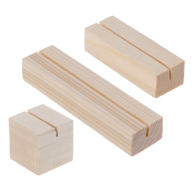 Natural Wood Memo Clips Photo Holder Clamps Stand Card Desktop Message Crafts