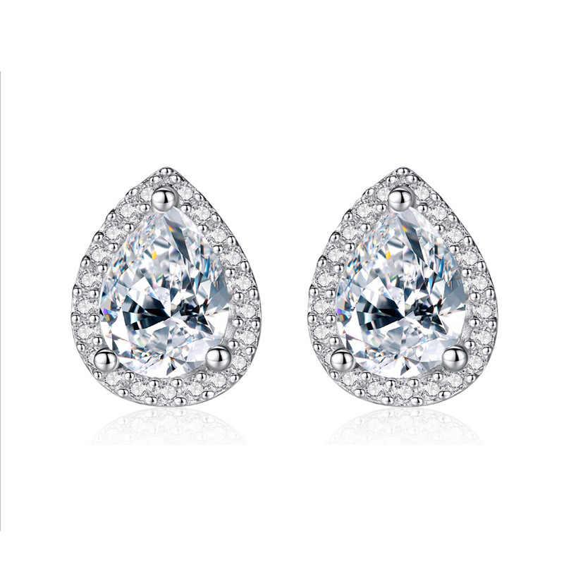 น่ารักหญิงคริสตัล AAA Zircon ต่างหูขนาดเล็กสีเงินคู่ต่างหูผู้หญิง VINTAGE งานแต่งงานเครื่องประดับ