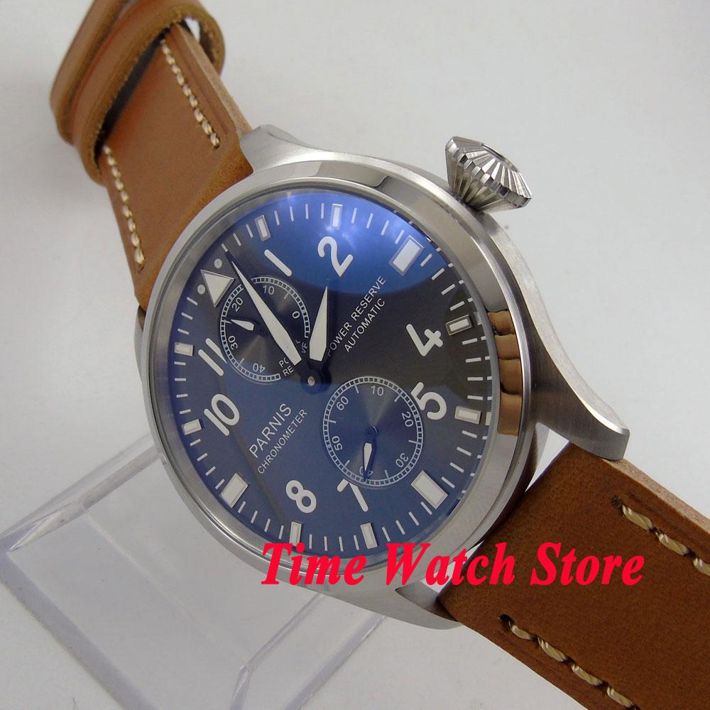 Parnis 47mm black dial luminous power reserve ST2542 Automatic Self-Winding movement mens watch 273 цена и фото