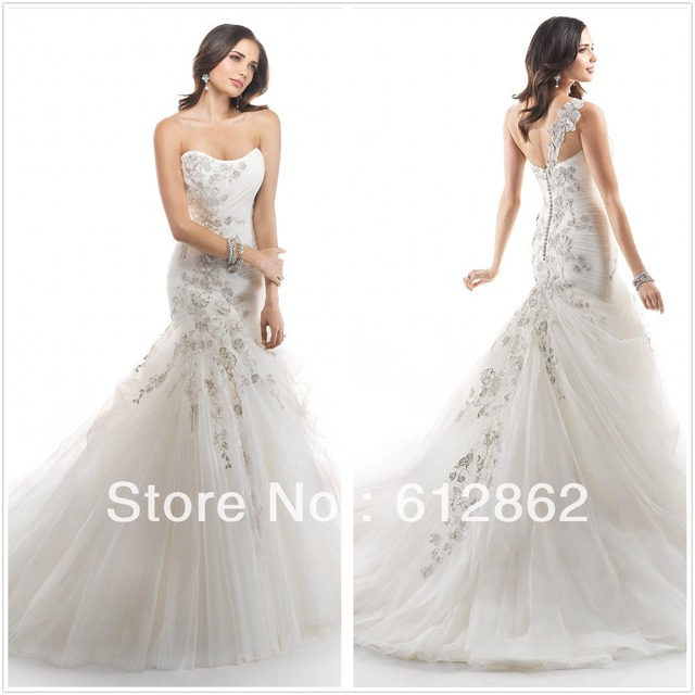 Strapless Sweetheart Neckline Beaded Lace Bodice Removable One Strap Mermaid Wedding Dress