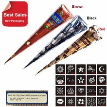 3 Piece Henna Cones Red Brown Black + 20 Stencils  Temporary Tattoo machine Kits Body Art Ink For face  glowing Paint airbrush цена
