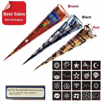 3 Piece Henna Cones Red Brown Black + 20 Stencils  Temporary Tattoo machine Kits Body Art Ink For face  glowing Paint airbrush