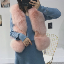 2019 New Fashion S-XL Imported Whole Fox Fur Waistcoat Women Female Real Fur Short Coat Jacket Vest Autumn Winter