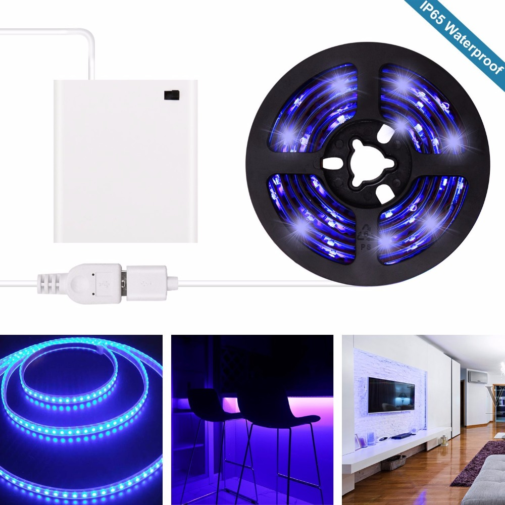 uv black light led strip 2018 new design battery operated usb uv light strip kit with 6 6ft 2m. Black Bedroom Furniture Sets. Home Design Ideas