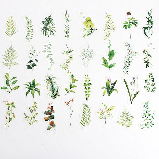 34 piezas pegatinas planta verde tema Scrapbooking bala revista pegatinas papelería Etiqueta de hecho a mano diario sello etiquetas