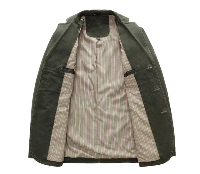 2018 spring  Men 100% cotton casual blazer men's brand military jacket blazers mens suit coat male blazer masculino jackets 3