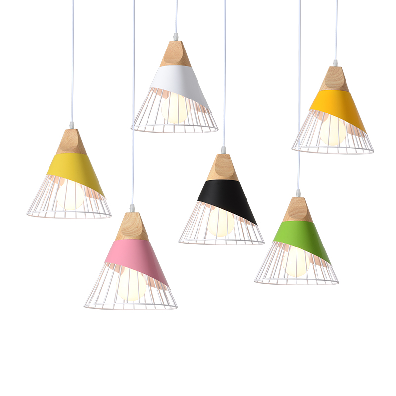Modern Creative design art pendant lights living room macarons colorful droplight iron wood material combo LED Pendant lamps modern led colorful glass pendant lights lamps creative design toolery dining room living room bar g9 led bulb art decoration