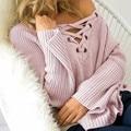 Las mujeres Atan Para Arriba Suéter 2017 de Las Mujeres del V-cuello de Manga Larga Pullover Sweater Otoño Invierno Moda Loose punto E218
