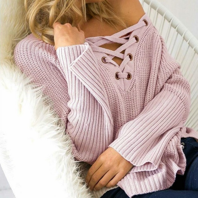 Women Lace Up Sweater 2017 Women Sexy V-neck Long Sleeve Pullover Sweater Winter Autumn Fashion Loose knitwear E218