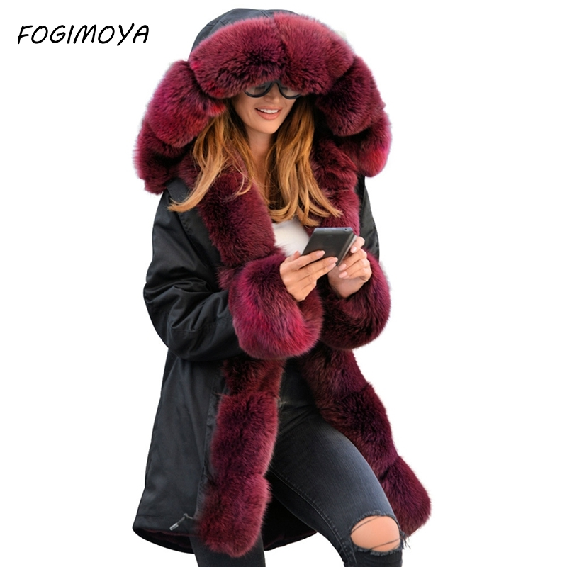 FOGIMOYA Down Women Fashion Long Stlye Slim-fit Warm Women's Camouflage Jacket Long Fur Collar Hooded Coat Cotton Coat